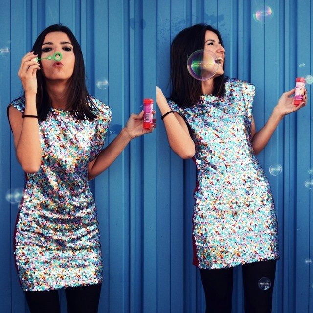 multicolor sequin dress
