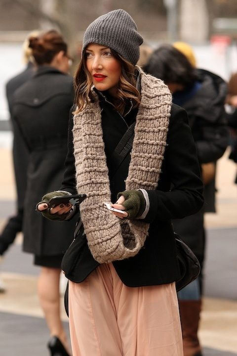beanie and scarf different knit