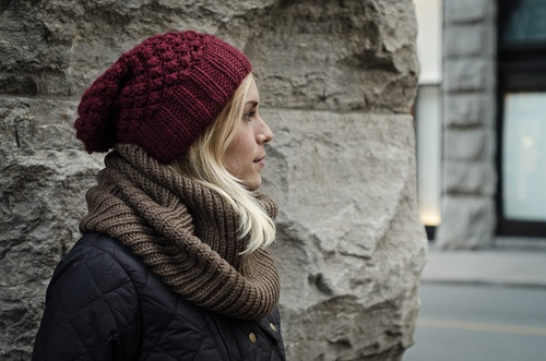 red beanie grey scarf 2