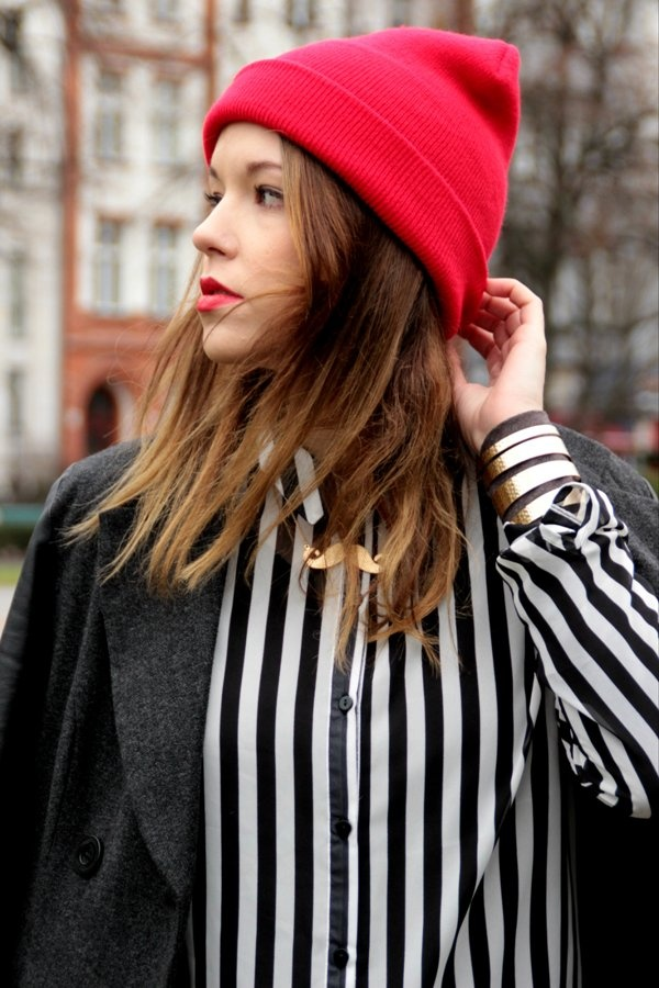 red beanie stripes