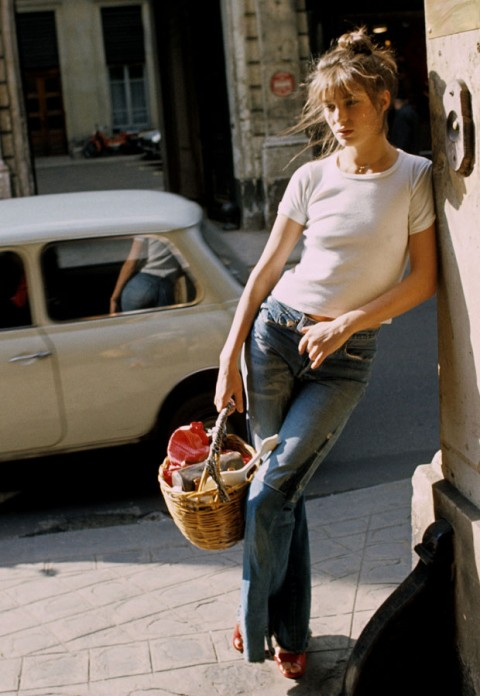 Jane Birkin patch jeans