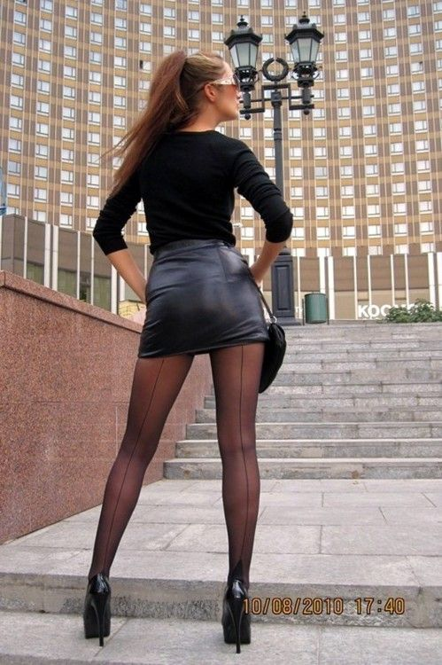 Leather skirt and pantyhose