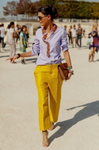 Giovanna Battaglia purple and mustard