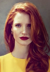 Jessica Chastain Burgundy + purple