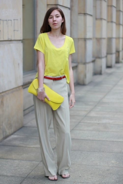Neon Beige Grey Yellow Color Mix