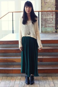 low flat boots long skirt
