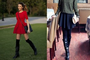 short skirt high boots