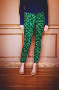Patterned pants and complementary color