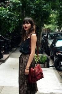 Print long skirt Natalie off duty