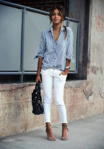 White jeans white and blue stripes