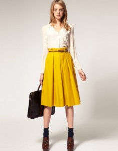 Fluid white blouse tucked in large skirt ASOS