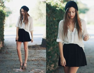 Lou guinnamand Lookbook nu fluid white blouse half tuck skater dress