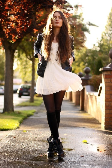 White dress black leggings
