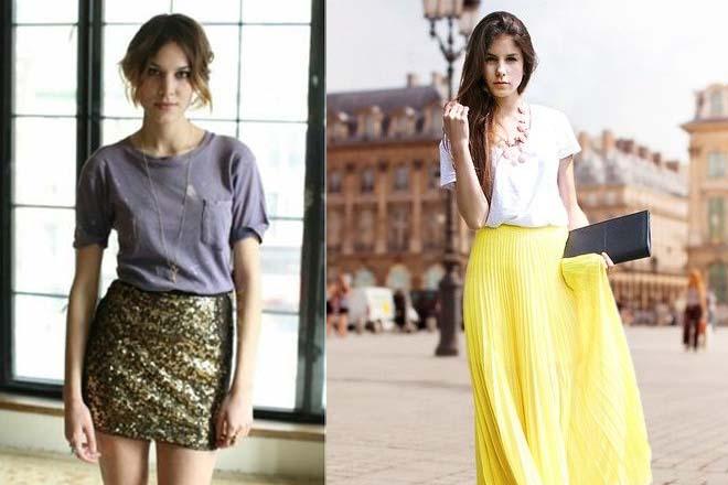 Dressy skirt casual shirt