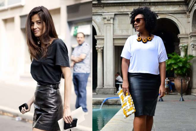 Sexy leather skirt loose T-shirt