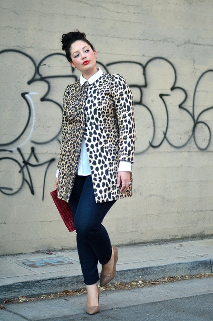 Sixties coat girl with curves