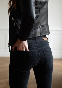Black jeans black leather jacket sezane