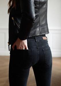 Black jeans black leather jacket sezane