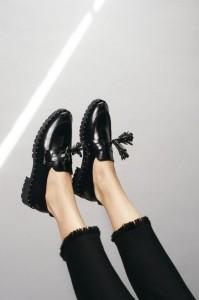 frayed black jeans shiny brogues Claudie Pierlot