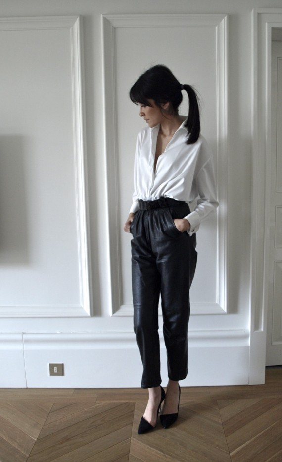 Luxury shoppers leather pants