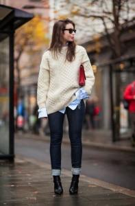 Oversize knit skinny jeans