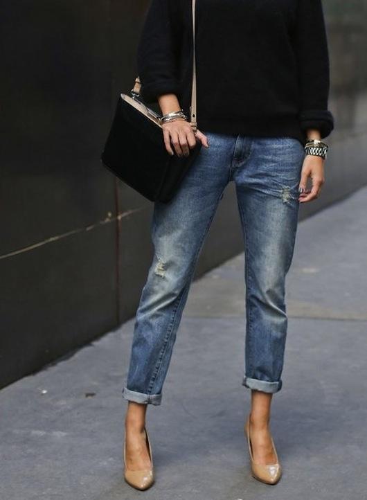 sacramento street boyfriend jeans with heels