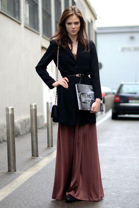 Coco Rocha long skirt winter