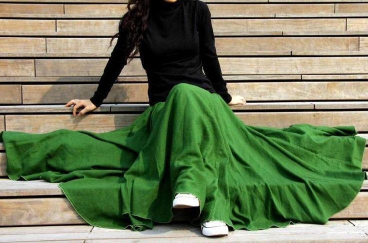Da Wanda long skirt green