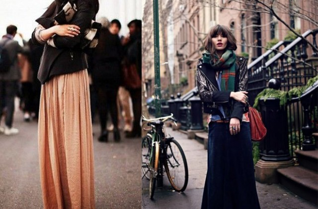 How to wear the long skirt