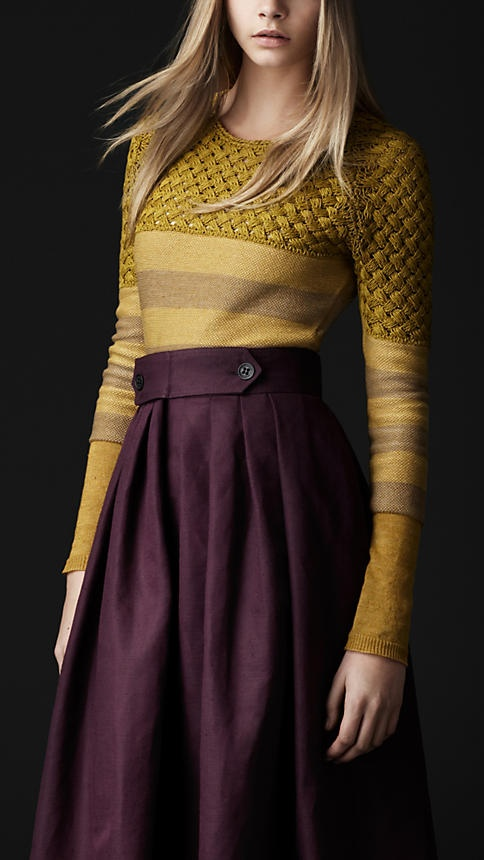 Plum and mustard yellow burberry