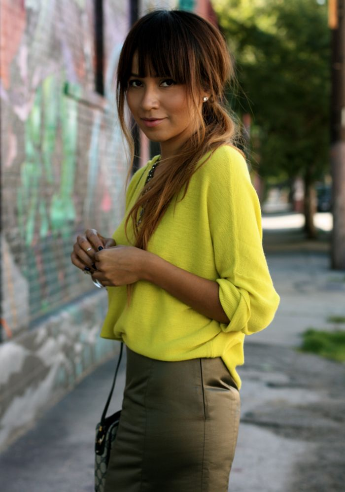 Sincerely jules kakhi and yellow
