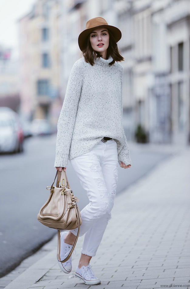 Polienne white jeans gold and tan