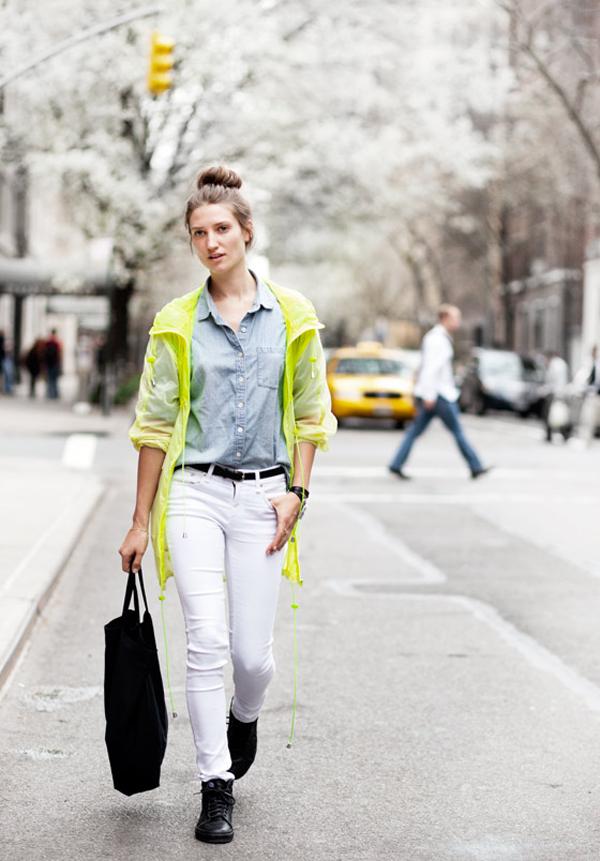 jeans blanc et flash classe