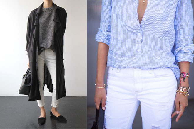 comment porter le jean blanc dress like a parisian. Black Bedroom Furniture Sets. Home Design Ideas