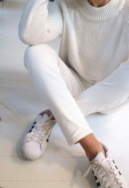 white jeans cream sweater