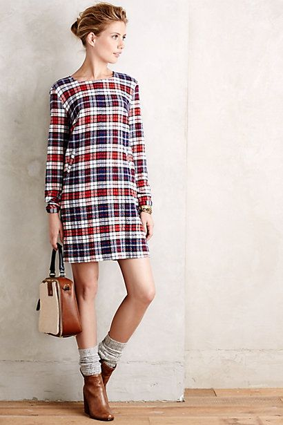 anthropologie plaid dress