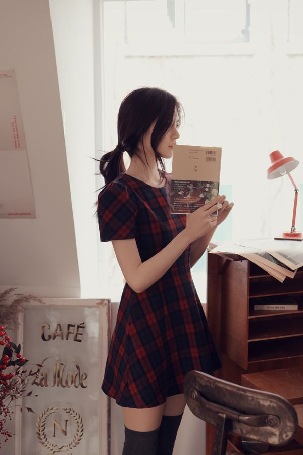 milk cocoa plaid dress