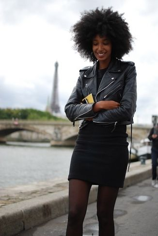 Julia Sarr biker jacket mini dress