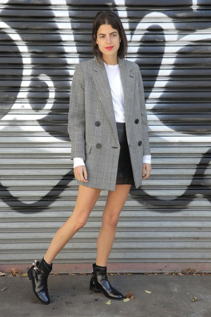 Leandra Medine tweed blazer mini skirt