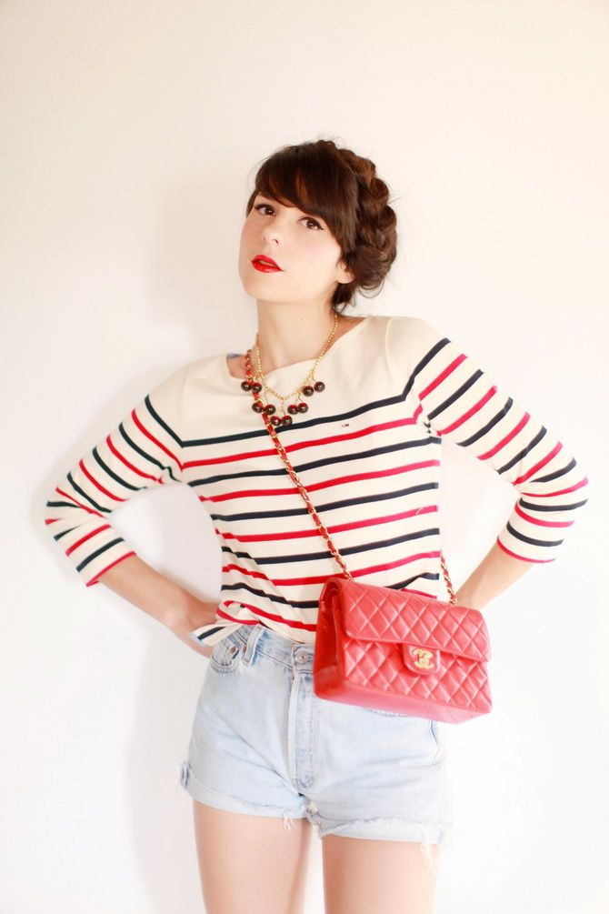 Match makeup with bag and stripes cherry blossom girl