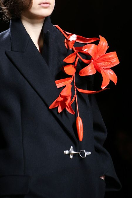 dries van noten brooch black coat