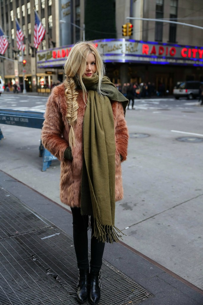 barefoot blonde fur and cashmere scarf