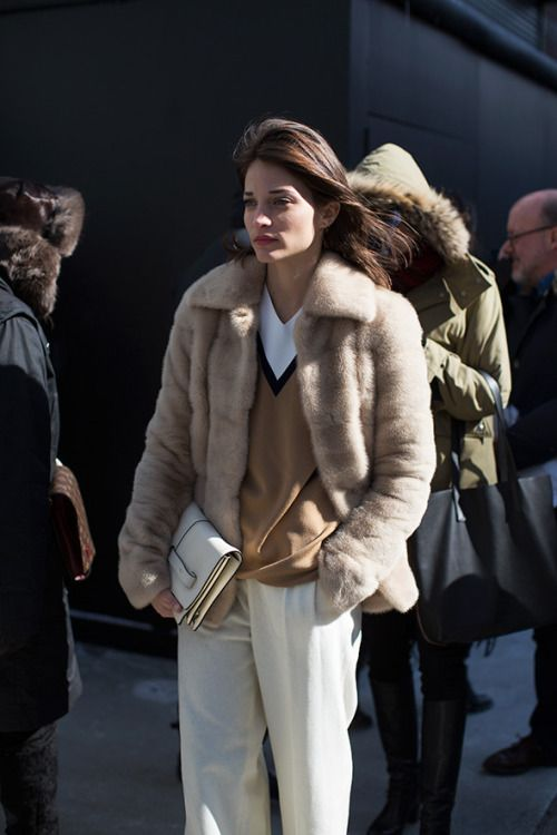 fur coat no collar