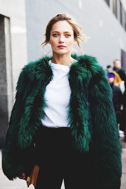 green faux fur