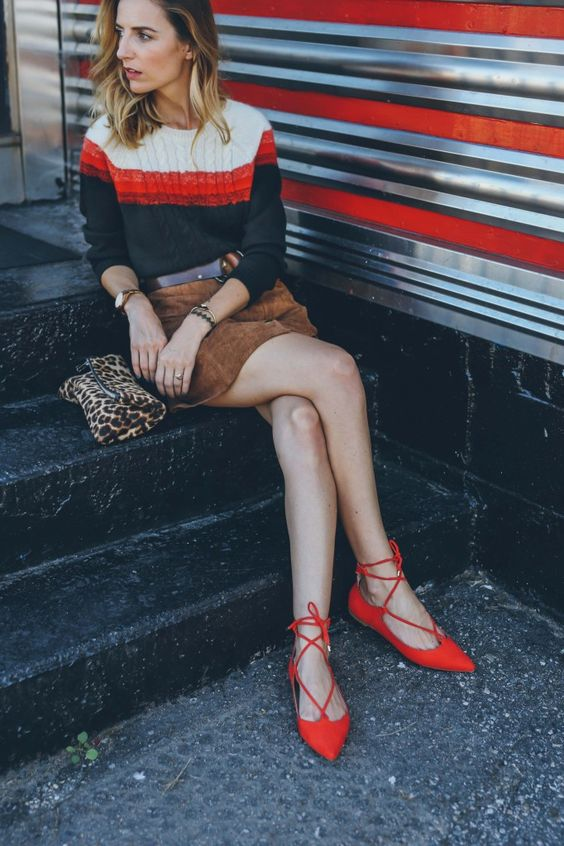 Laced up flats prosecco and plaid