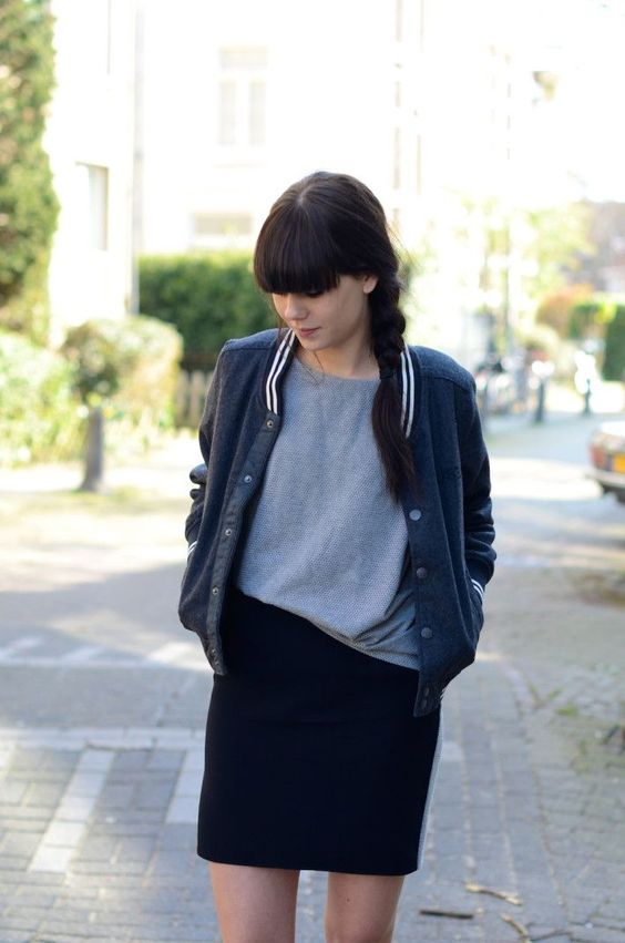 bomber jacket on mini skirt