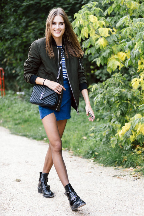 mini skirt bomber jacket