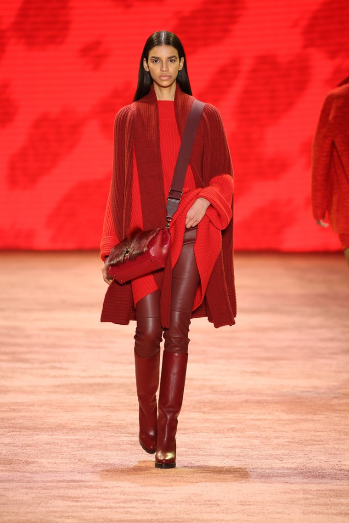 red on dark red Akris FW 2016